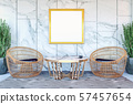 Interior of modern hotel lobby area and reception desk, 3D Rendering 57457654