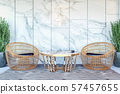 Interior of modern hotel lobby area and reception desk, 3D Rendering 57457655