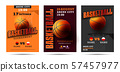 Set of basketball posters with basketball ball. Basketball Playoff advertising. Sport event 57457977