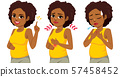Beautiful afro black pregnant woman in three actions pointing, discomfort and difficulty breathing 57458452