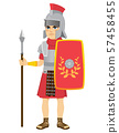 Roman legionary soldier holding long spear and shield 57458455