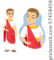 Illustration of rich patrician roman citizen standing with red toga and gold accessories 57458456