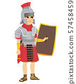 Roman legionary soldier with sword on belt holding shield 57458459