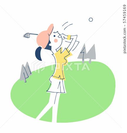골프를하는 여성 57459169