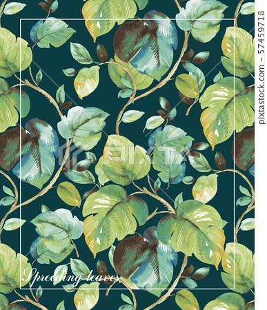 美麗的手繪水彩葉子 57459718