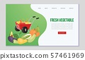 Farm eco vegetables and organic food vector web template. Illustration with hand barrow full of 57461969