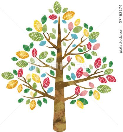 大樹和樹木:自然,大樹,樹木,葉子,水彩,五顏六色的樹葉,手繪樹枝,森林 57462174