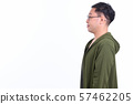 Profile view of Japanese man with eyeglasses 57462205