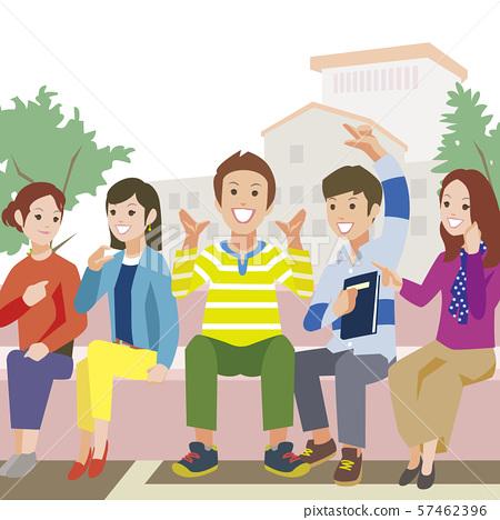 대학 캠퍼스에서 얘기 학생들 57462396
