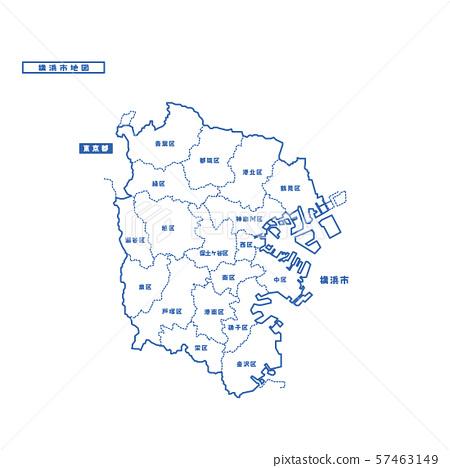 橫濱市地圖簡單的白色地圖城市 57463149
