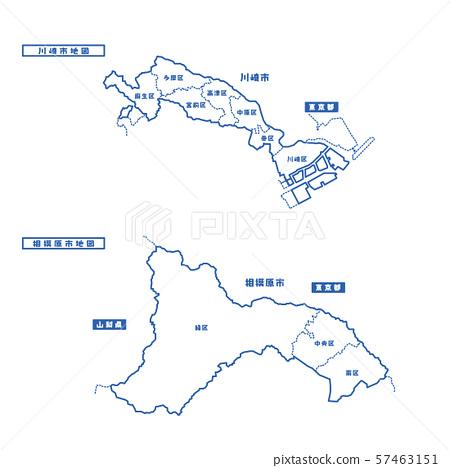 川崎市+相模原市地圖簡易白地圖城 57463151