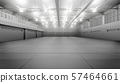 Modern empty dark storehouse with smoke at the end 57464661