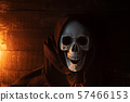 Halloween costume ghost scary skeleton wearing a 57466153