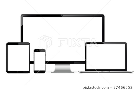 Technology devices - computer monitor, laptop, digital tablet and smartphone 57466352