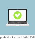 Check mark on laptop screen. Accept or approve checkmark. Flat design illustration. 57466358