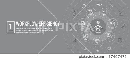 Workflow Efficiency Icon Set and Web Header Banner 57467475