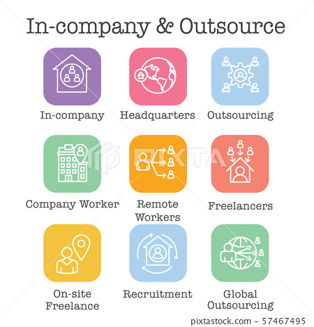 In-Company and Outsource Icon Set with 57467495