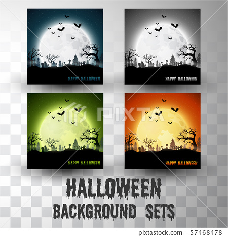 Halloween silhouette background sets with different colour scene	 57468478