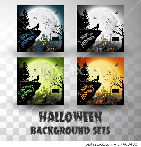 Halloween silhouette background sets with different colour scene 57468483