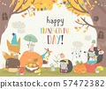 Cute animals celebrating Thanksgiving day in the forest 57472382