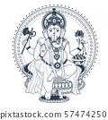 Ganesh Puja linear style icon black 57474250