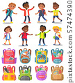 Classmates and Backpack Sticker, School Vector 57474390