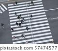 People walking Crossing street Sign Urban city Top view  57474577