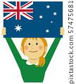 인종과 국기 / 깃발을 내건 젊은 여성 상반신 일러스트 / 호주 57475681