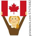 인종과 국기 / 깃발을 내건 젊은 여성 상반신 일러스트 / 캐나다 57475682