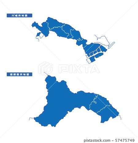 Kawasaki City + Sagamihara City Map Simple Blue City 57475749