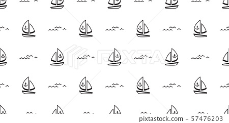 boat seamless pattern vector yacht pirate Anchor helm maritime Nautical sea ocean wave scarf isolated repeat wallpaper tile background doodle design 57476203