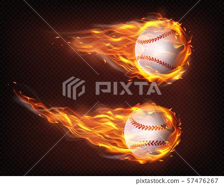Flying in flames baseball balls realistic vector 57476267