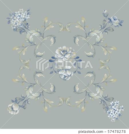 手繪風格花卉和邀請卡設計 57478278