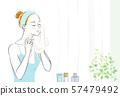 스킨 케어 수건으로 얼굴을 닦는 여성 57479492