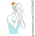 스킨 케어를하는 여성 얼굴을 씻을 57479497