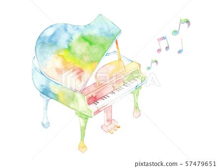 七色鋼琴和音符 57479651