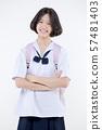 Portrait of Lovely Asian girl in school uniform 57481403