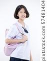 Portrait of Lovely Asian girl in school uniform 57481404