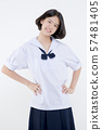 Portrait of Lovely Asian girl in school uniform 57481405