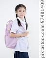 Portrait of Lovely Asian girl in school uniform 57481409