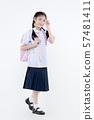 Portrait of Lovely Asian girl in school uniform 57481411