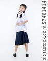 Portrait of Lovely Asian girl in school uniform 57481414