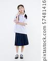 Portrait of Lovely Asian girl in school uniform 57481416