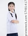 Portrait of Lovely Asian girl in school uniform 57481417