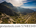Wide view of Coll dels Reis road with mountains 57483349