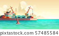 Cargo seaport on metropolis harbor cartoon vector 57485584