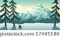 National park winter landscape cartoon vector 57485586