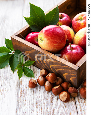 Apples and hazelnuts 57486359