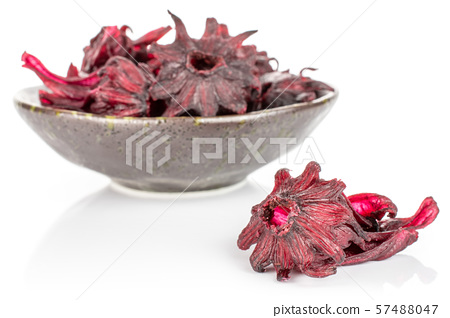 Candied hibiscus isolated on white 57488047