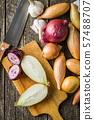 Halved fresh onions 57488707